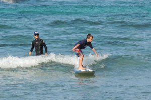 Kids surf lessons on Kauai