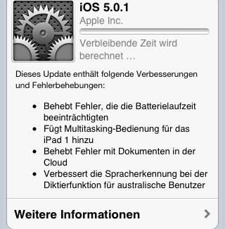 iOS Update 5.0.1 ist online