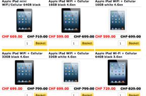 Schweiz – iPad jeweils CHF 100.- günstiger