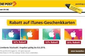 iTunes Karten Aktion der Schweizer Post
