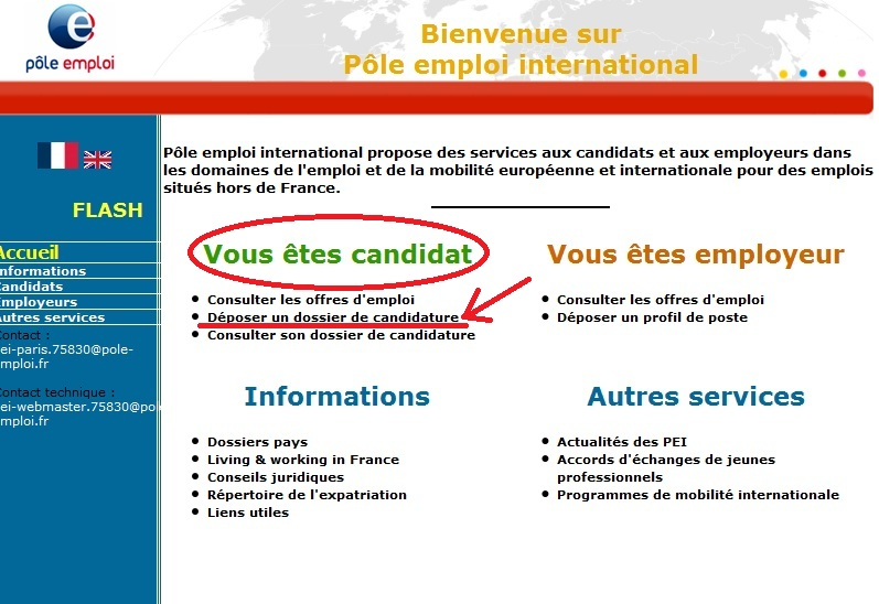 pole emploi international cv anglais