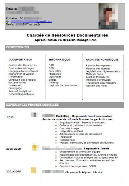 analyse de cv  u0026quot charg u00e9e de ressources documentaires u0026quot   avec