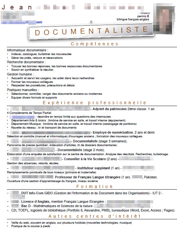 exemple cv documentaliste