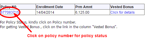 LIC policy status registered user policy number image