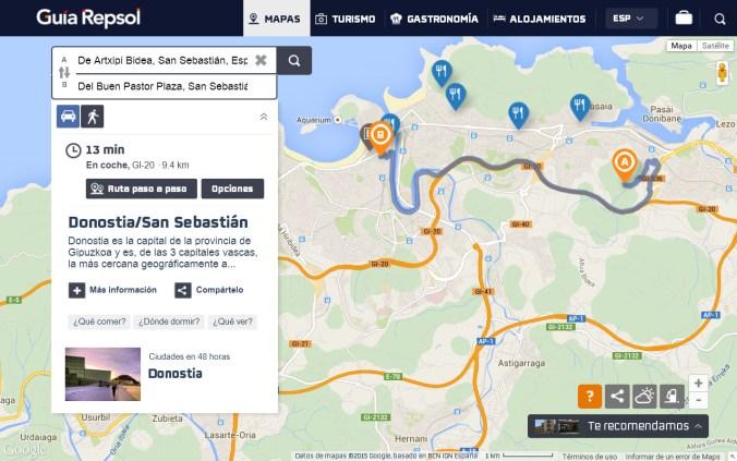 Desde Papín se accede al centro de San Sebastián en diez minutos.