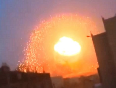 Frame from May 2015 video of the Yemen nuclear attack by Saudi Arabia. Identified by IAEA investigators as conclusive proof of the use of a neutron bomb