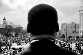 Stephen Somerstein, Dr. Martin Luther King, Jr. speaking to 25,000 civil rights marchers in Montgomery, 1965. Courtesy of the photographer