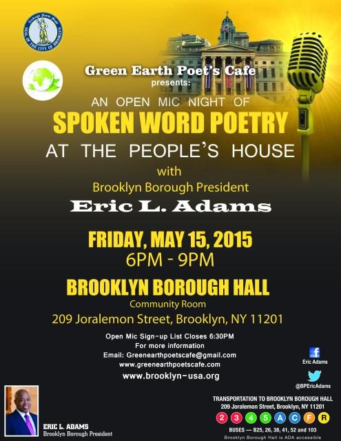 Open Mic Night @ Brooklyn Borough Hall May 15th!
