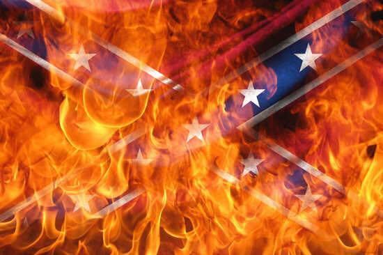 Burning Rebel Flag