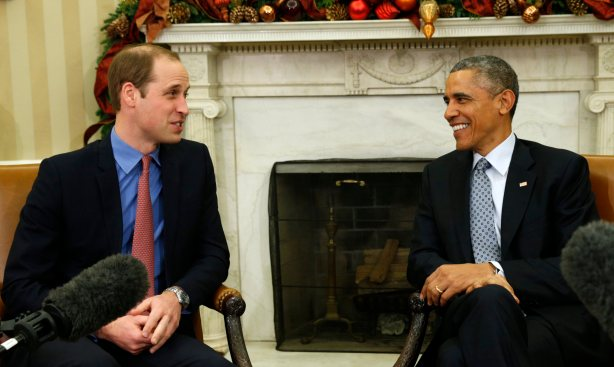 U.S. President Barack Obama meets Britain's Prince William in the Oval Office of the White House in Washington