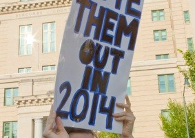 Vote Them Out in 2014 Sign at a Moral Monday Rally