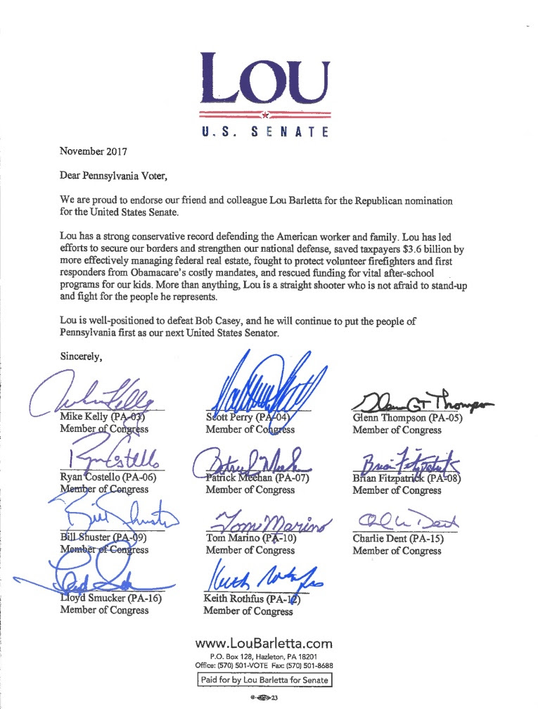 Entire GOP Delegation Backs Barletta PoliticsPA - delegation letter