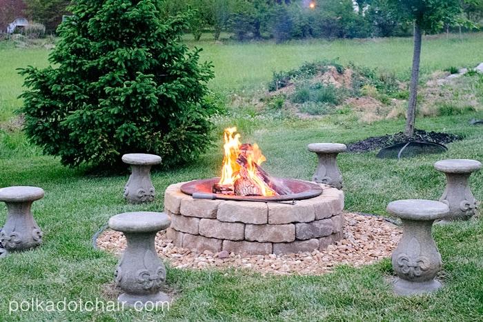 DIY Outdoor Firepit Seating on polka dot chair blog