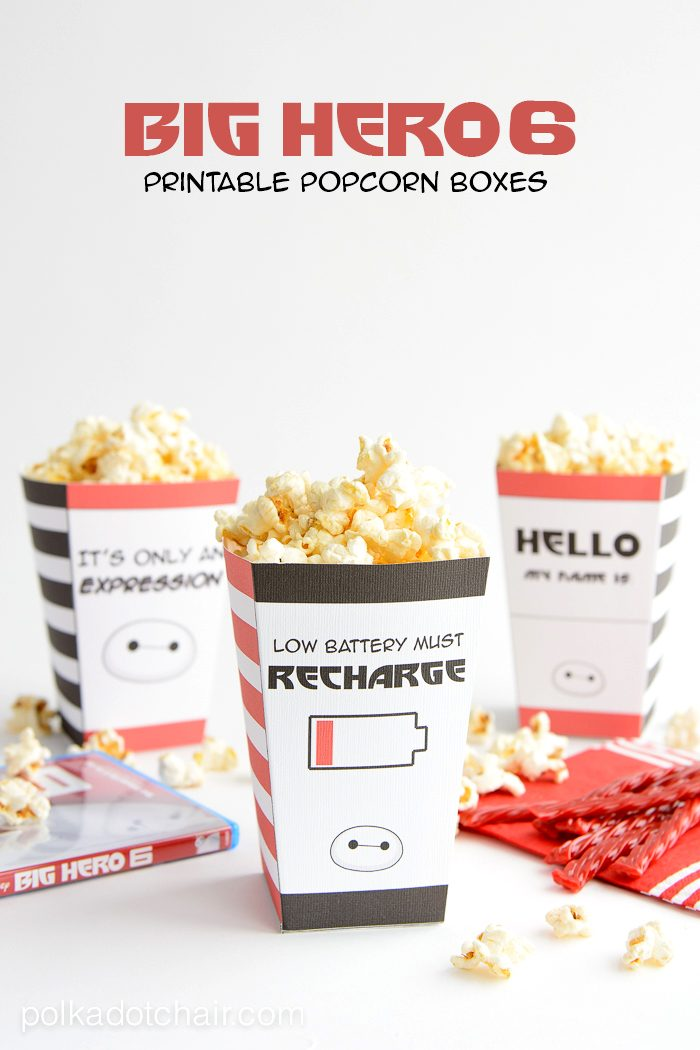 Big Hero 6 Printable Popcorn boxes for Family Movie Night