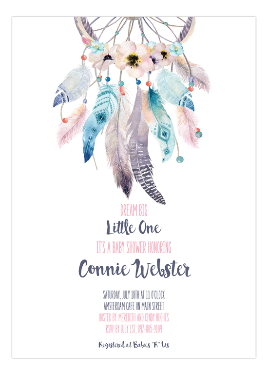 Boho Feathers Dream Catcher Baby Shower Invitations