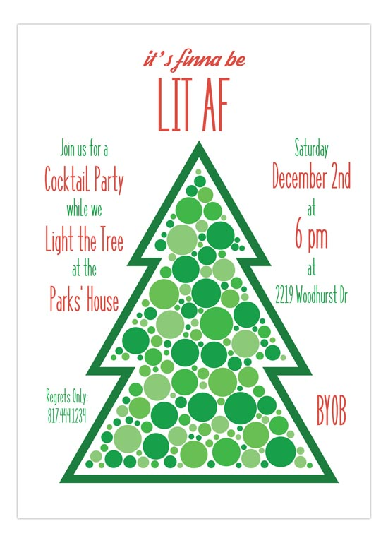 Lit AF Holiday Cocktail Party Invitation hip Christmas invites for