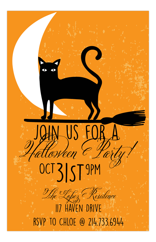Black Cat Halloween Invitation - halloween invitation