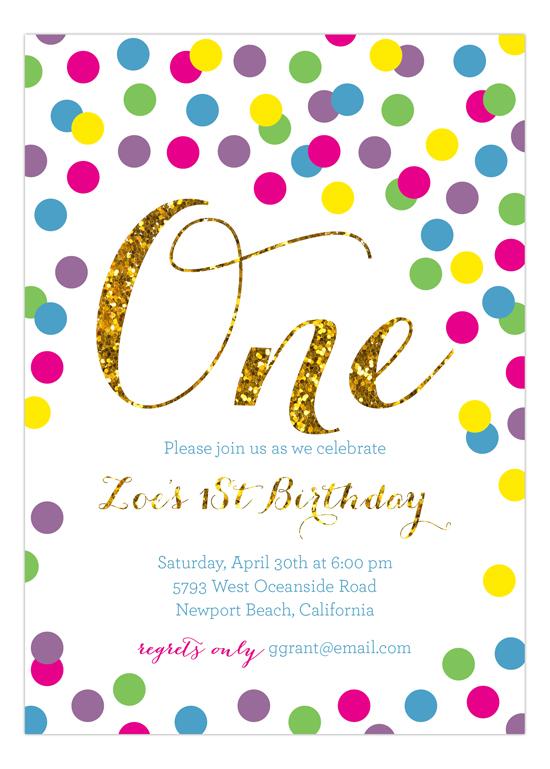 Rainbow Gold Glitter 1st Birthday Invitation cute first birthday