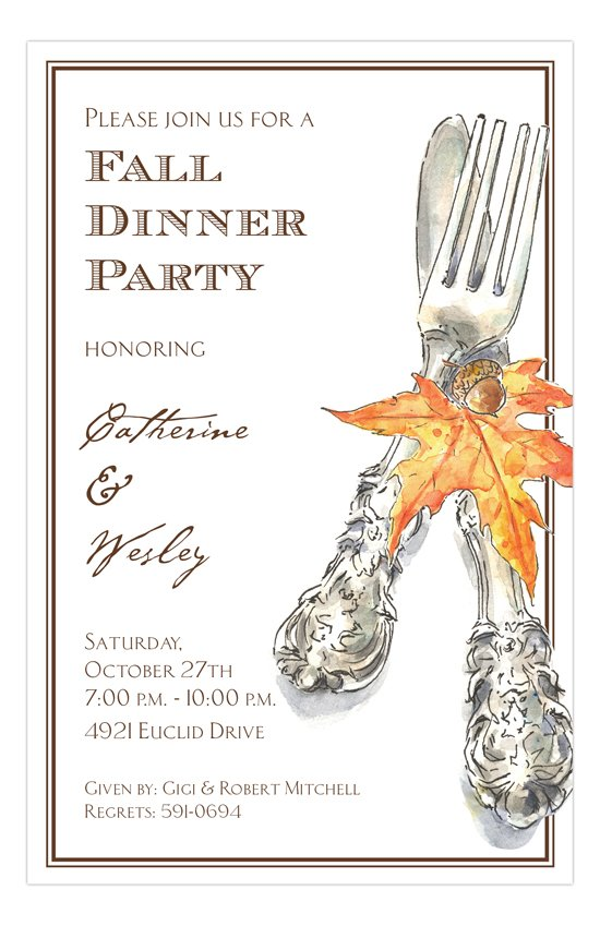 Autumn Cutlery Invitation invitations for a fall dinner party