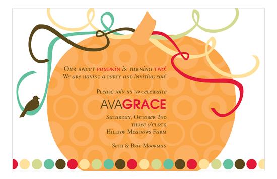 Autumn Orange Pumpkin Invitation fall birthday party invitations