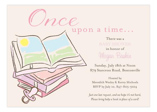 Baby Shower Books Girl Invitation