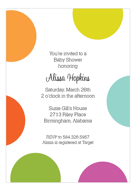 Big Dots Invitation big polka dot invitations for a baby shower