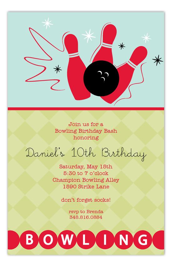 Birthday Bowling Party Invites Polka Dot Invitations