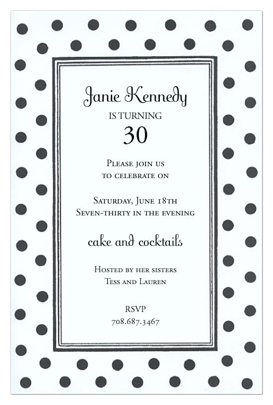 Black and White Dots Invitation Polka Dot Design