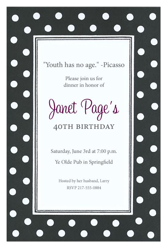 Black and White Polka Dot Invitations bw polka dot invitations
