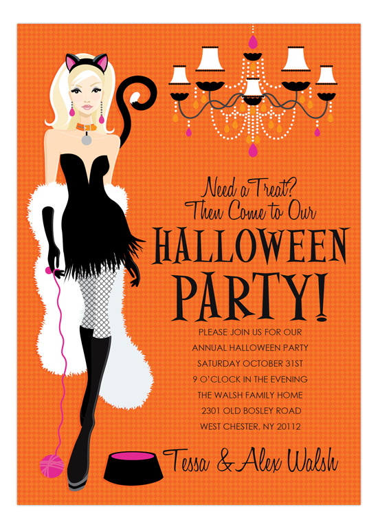 Blonde Here Kitty Halloween Invitation