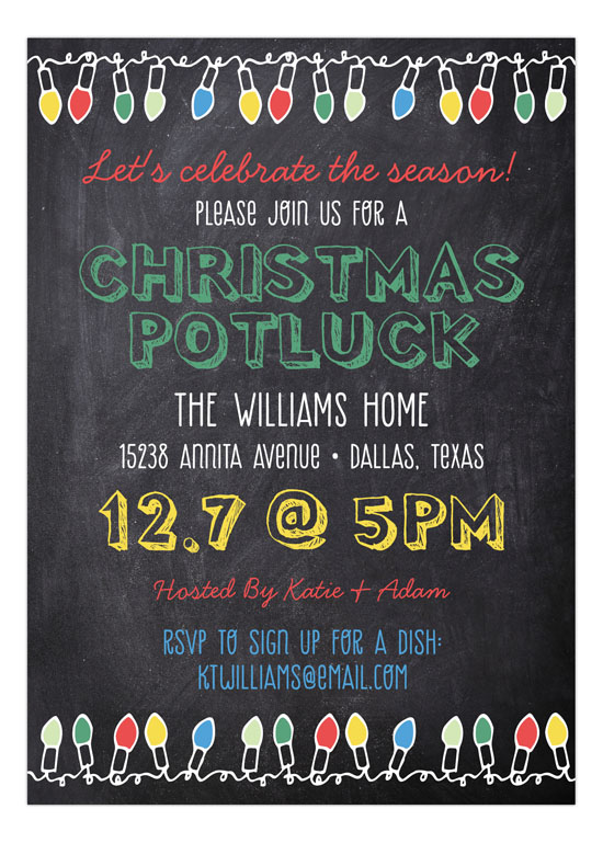Bright Lights Chalkboard Invitation Polka Dot Invitations