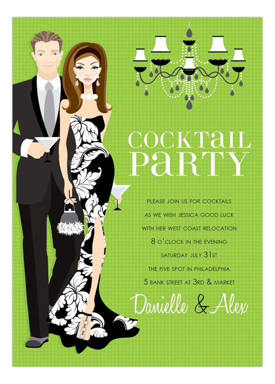 Brunette Cocktail Party Kelly Green Invitation Polka Dot Design - cocktail party invitations