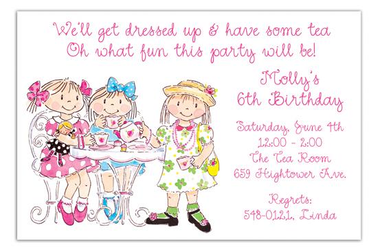 Birthday Girls Tea Party Invitations PolkaDotDesign - tea party invitation