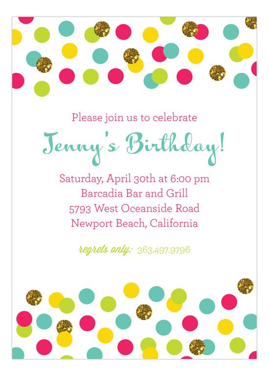 Glitter Color Confetti Invitation Polka Dot Glitter Invitations