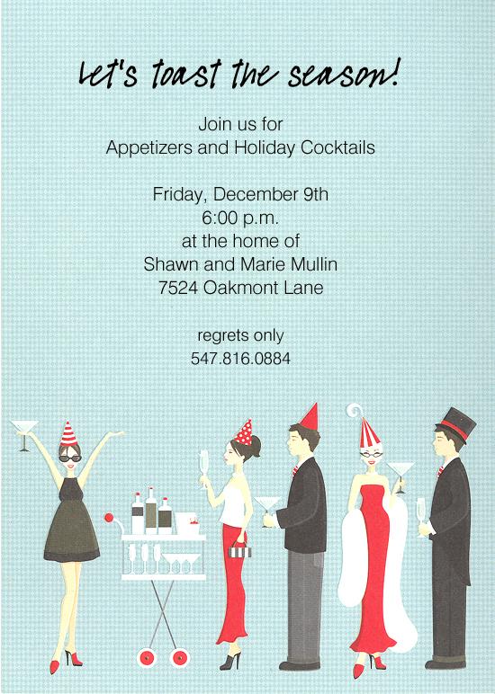 Holiday Cocktail Party Invitation Polka Dot Design - invitation for cocktail party