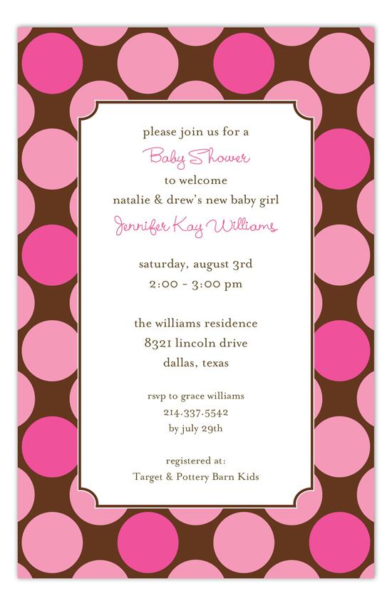 Large Pink Dots Invitation big polka dot invitations for a girl\u0027s