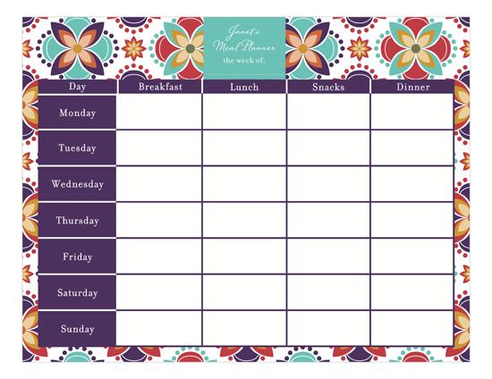 Meal Planner Calendar Pad