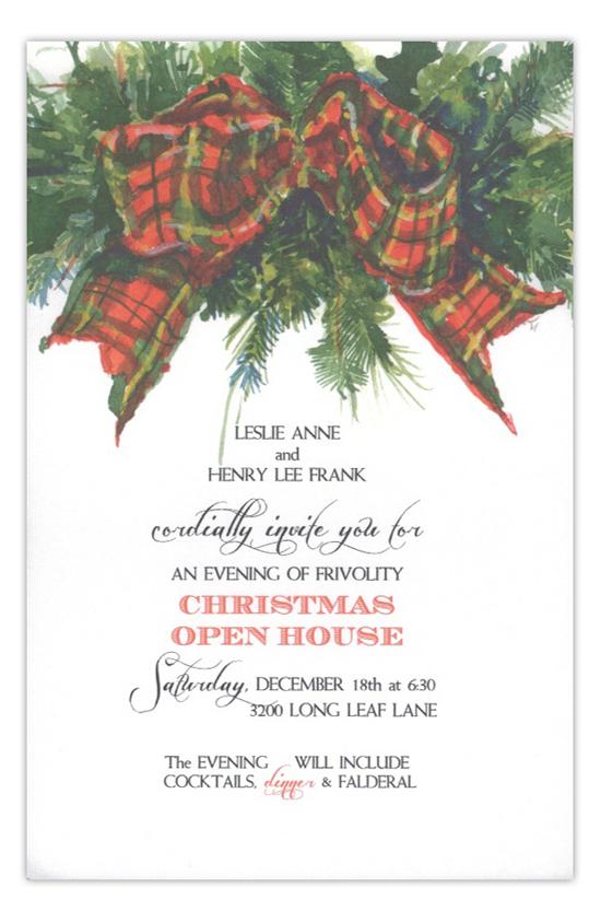 Tartan Greens Christmas Open House Invitation