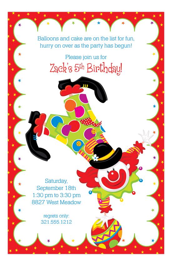 Party Clown Kids Birthday Invitations PolkaDotDesign