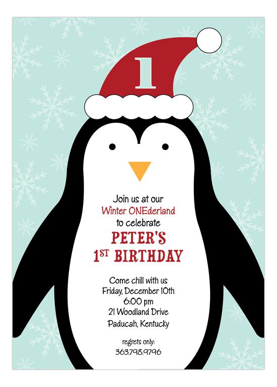 Penguin Winter Party 1st Birthday Invitations