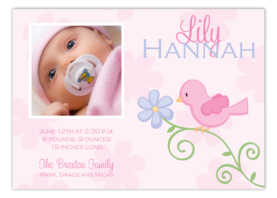 Pink Birdie Photo Card Polka Dot Birth Announcements
