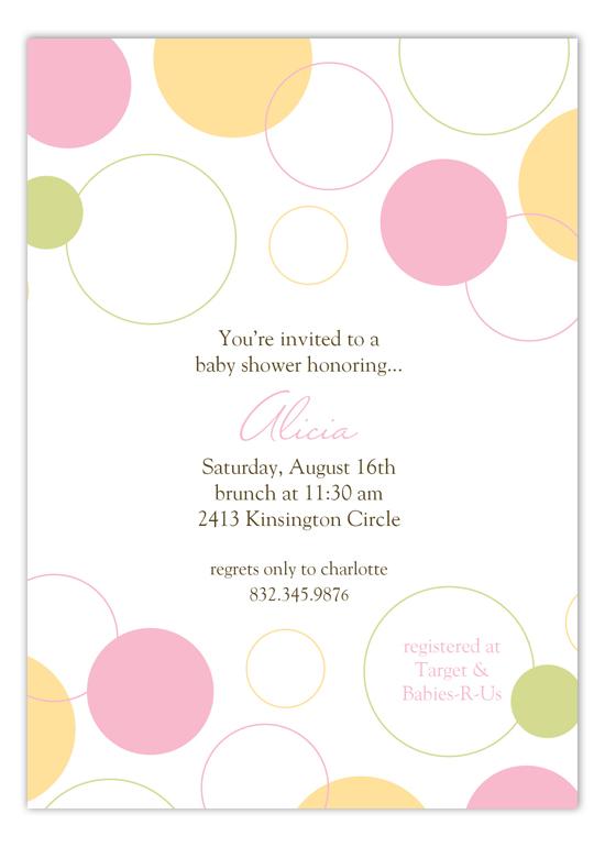 Pink Bubble Dots Invitation polka dot baby shower invitations