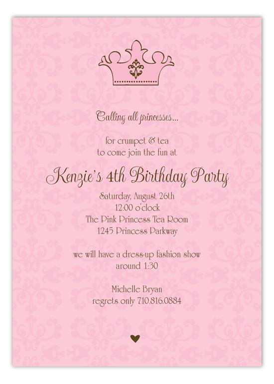 princess party wording