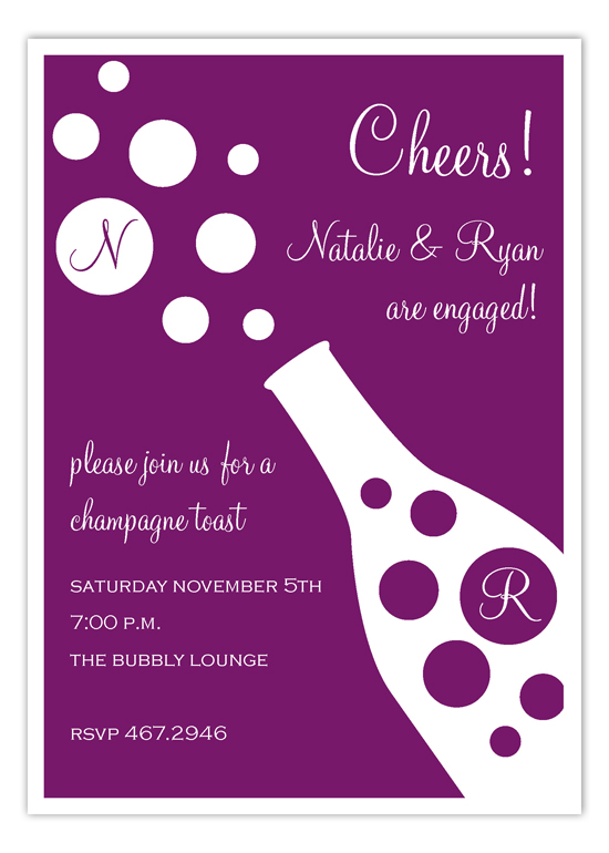 Plum Bubbly Cocktail Party Invitation Polka Dot Online Party Invites