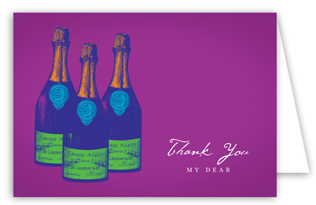 Purple Savvy Cocktail Note Card cute thank you cards