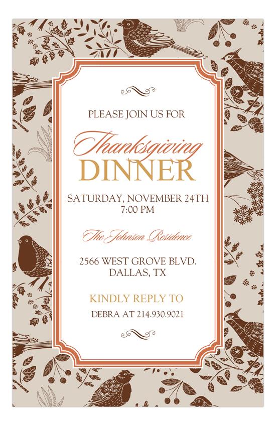 Pheasants Fall Invitation fall housewarming party invitations