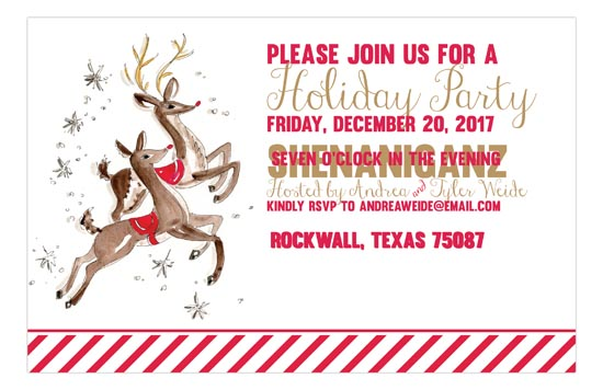 Reindeer Holiday Party Invite cute holiday party invitations
