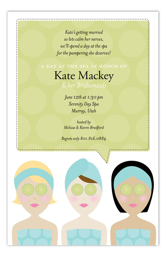 Spa Day Invitation Polka Dot Invitations - spa invitation