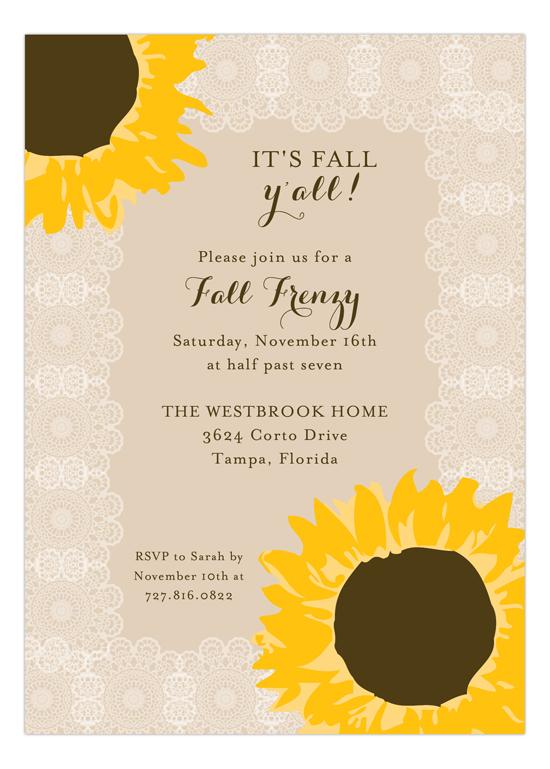 Sunny Sunflowers Bridal Shower Invitations Polka Dot Invitations
