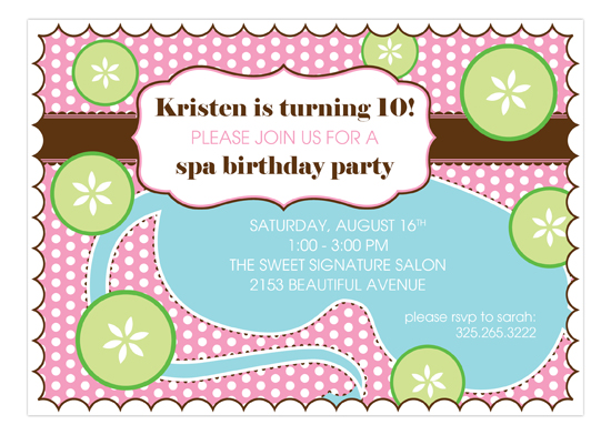 Sweet Spa Invitation Polka Dot Kids Birthday Party Invitations - spa invitation